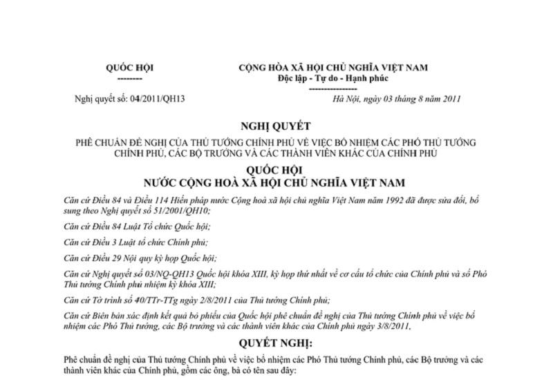 Nghị Quyết 04/2011/QH13 Của Quốc Hội Có Gì?